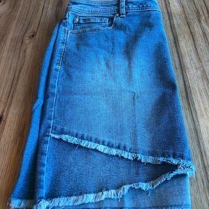 INC tulip hem jean skirt.Size 16 regular/mid rise